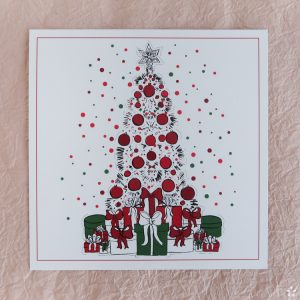 Christmas Card Fashion Illustration Red and Green Christmas Tree and Presents