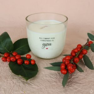 Christmas Gifts Sustainable Handmade Candle Donation All I Want for Christmas Is You Flowers