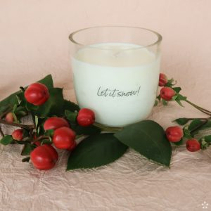 Christmas Gifts Sustainable Handmade Candle Donation Let It Snow Staged