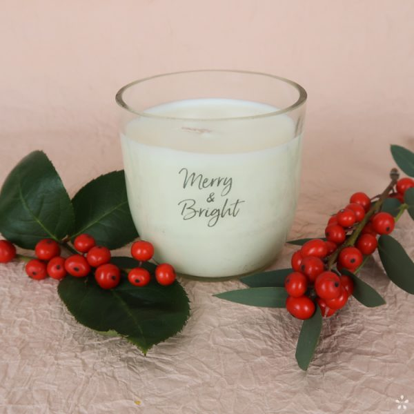 Christmas Gifts Sustainable Handmade Candle Donation Merry and Bright Staged