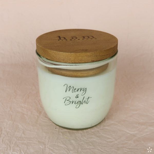 Christmas Gifts Sustainable Handmade Candle Donation Merry and Bright with Lid