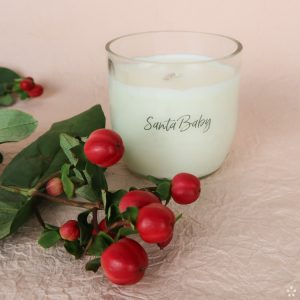 Christmas Gifts Sustainable Handmade Candle Donation Santa Baby Staged