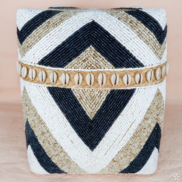 Bali Storage Boxes with Embroidered Pearls White Cream Black Geometric Pattern Shells Large Front