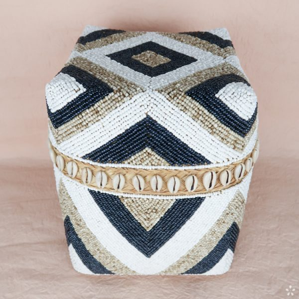 Bali Storage Boxes with Embroidered Pearls White Cream Black Geometric Pattern Shells Medium Perspective