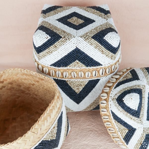 Bali Storage Boxes with Embroidered Pearls White Cream Black Geometric Pattern Shells Small Medium Perspective