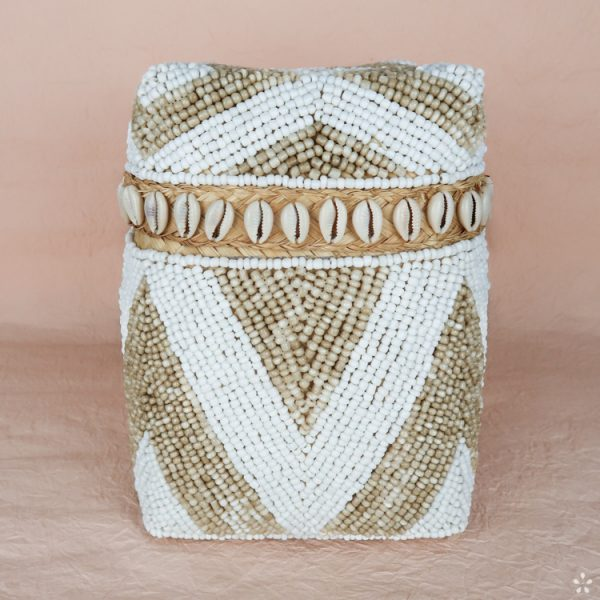 Bali Storage Boxes with Embroidered Pearls White Cream Geometric Pattern Shells Small Front