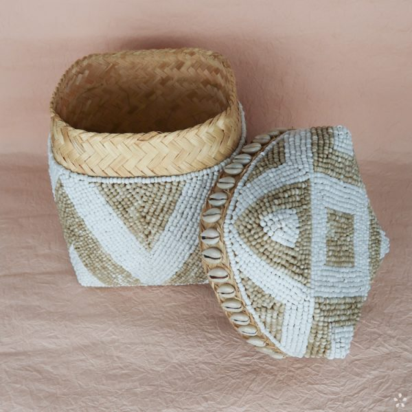 Bali Storage Boxes with Embroidered Pearls White Cream Geometric Pattern Shells Small Lid Side