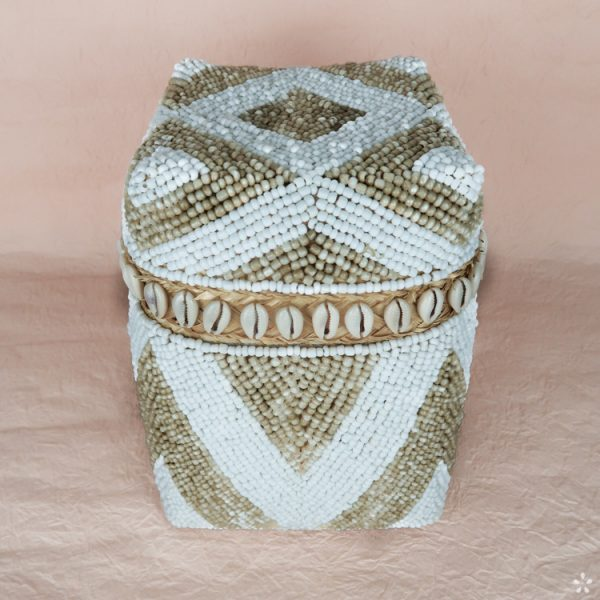 Bali Storage Boxes with Embroidered Pearls White Cream Geometric Pattern Shells Small Perspective