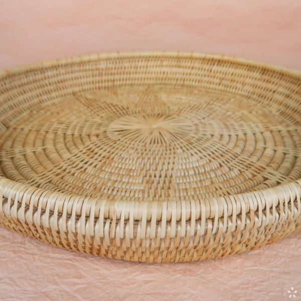 Handmade Round Rattan Tray Cambodia Natural Front Star Pattern Inside