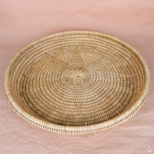 Handmade Round Rattan Tray Cambodia Natural Perspective