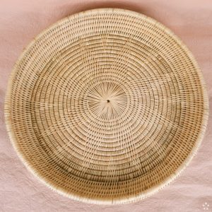 Handmade Round Rattan Tray Cambodia Natural Star Pattern Inside