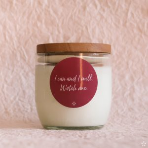 Candles with Motivational Quotes Girlboss Donation for Domestic Violence Shelters I Can and I Will Watch Me with Lid