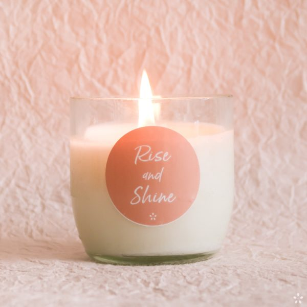Candles with Motivational Quotes Girlboss Donation for Domestic Violence Shelters Rise and Shine Lit