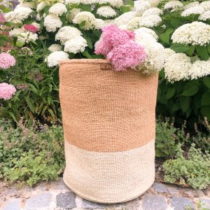 Handmade Sisal Basket Large Size Laundry Hamper Natural and White Block