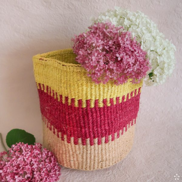 Handmade Sisal Basket Natural with Pink Yellow Medium Size Flowers