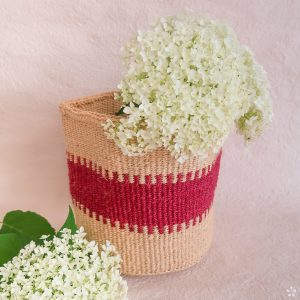 Handmade Sisal Basket Pink Pattern Medium Size Flowers