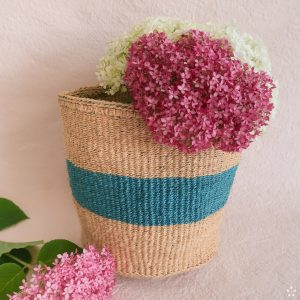 Handmade Sisal Basket Turquoise Stripe Medium Size Flowers