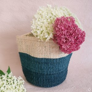 Handmade Sisal Basket White Blue Blocks Medium Size Flowers