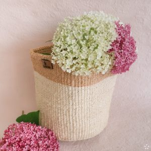 Handmade Sisal Basket White Natural Rim Medium Size Flowers