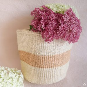 Handmade Sisal Basket White Natural Stripe Medium Size Flowers