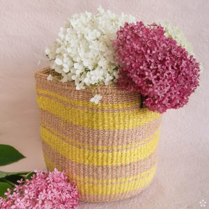 Handmade Sisal Basket Yellow Stripes Medium Size Flowers
