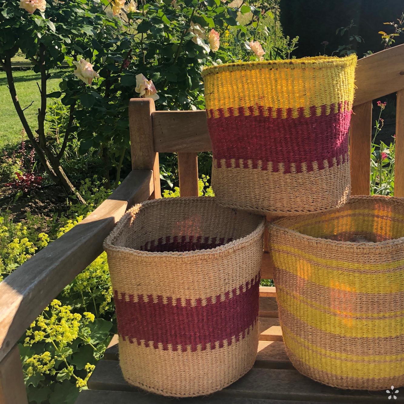 Handmade Sisal Baskets Neon Yellow Pink Bench Sun