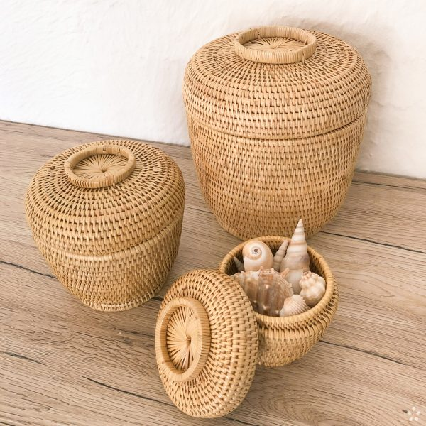Cambodia Handwoven Rattan Basket with Lid Set