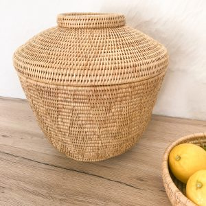Cambodia Dara Basket with Lid Staged Lemons