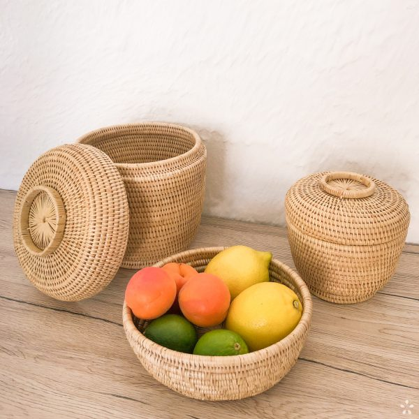Cambodia Handwoven Rattan Basket with Lid Set Fruit Basket