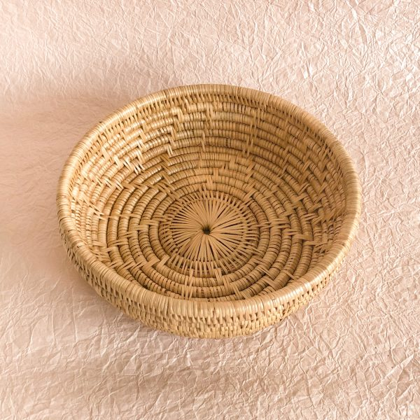Handmade Woven Rattan Basket Star Pattern Cambodia Perspective