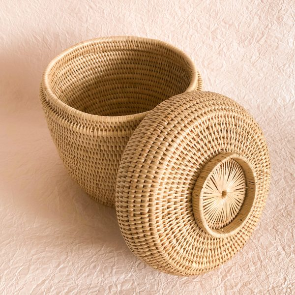 Handmade Woven Rattan Baskets with Lid Open