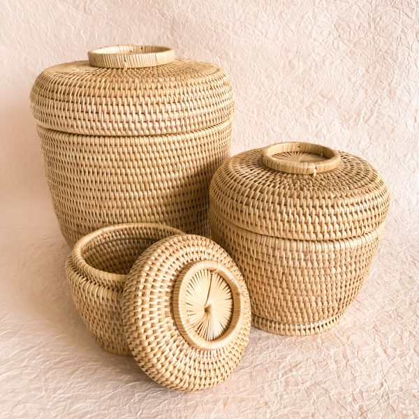 Handmade Woven Rattan Baskets With Lid Set