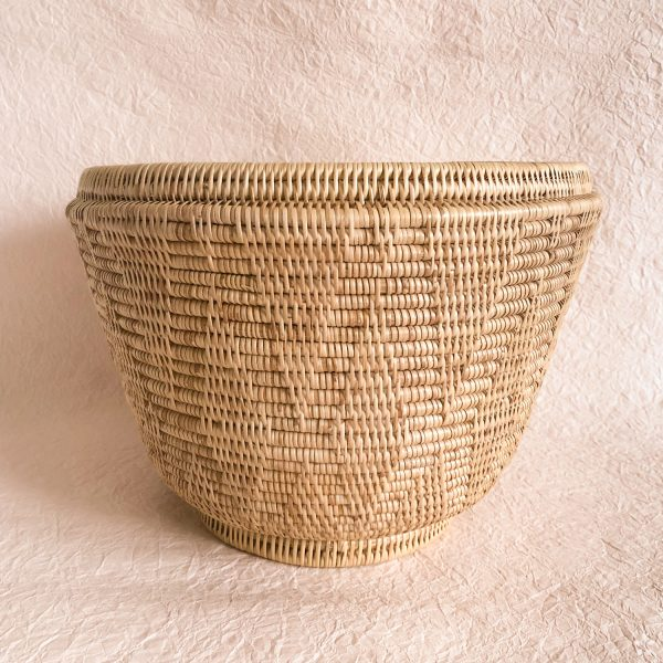 Handmade Woven Rattan Baskets With Lid XL Open Front