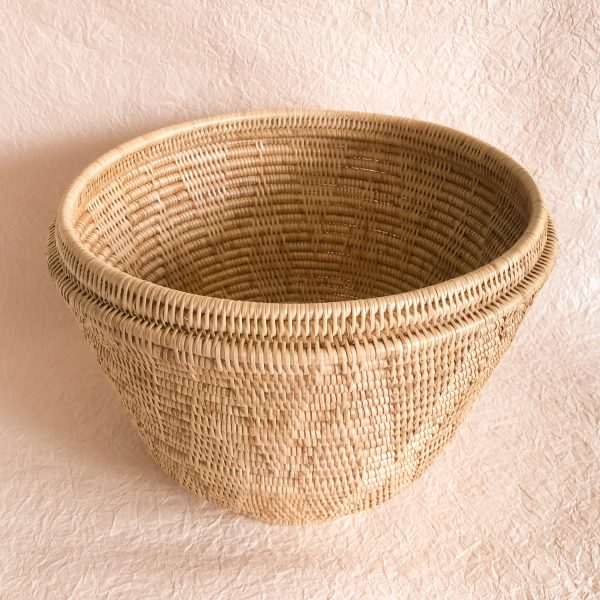 Handmade Woven Rattan Baskets With Lid XL Open Inside