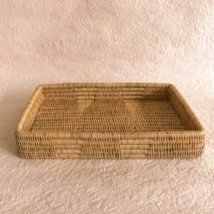 Handmade Woven Rattan Rectangle Tray Cambodia Inside