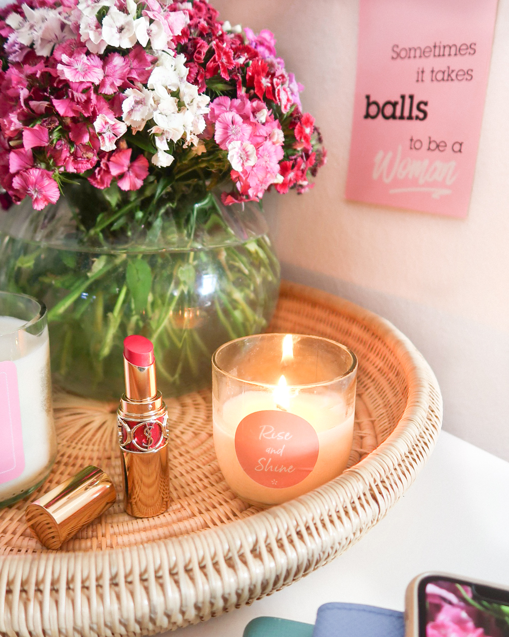 Simple Tips for a Chic and Functional Home Office Dara Tray Motivational Candle Detail