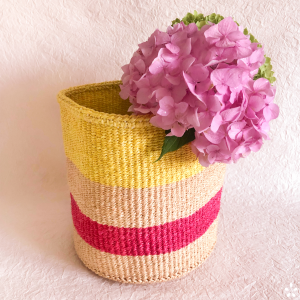 Handmade Sisal Basket Pink Yellow Stripes
