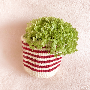 Handmade Sisal Basket Red Stripes Green Flowers