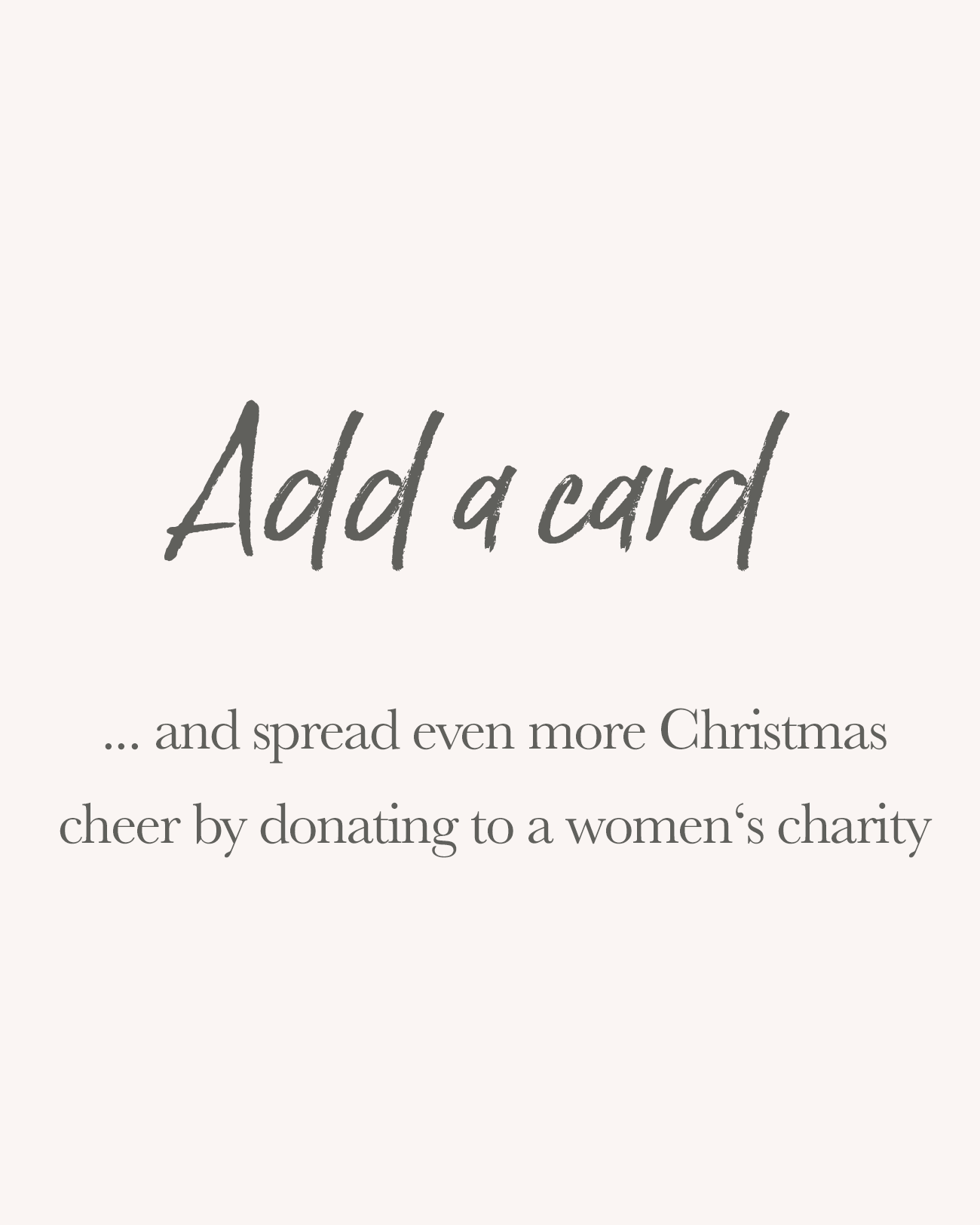 Christmas cards donation to womens charity title