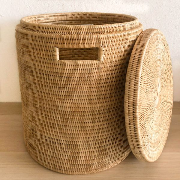 Handmade Woven Rattan Laundry Hamper Cambodia without Lid