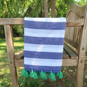 Cotton Beach Towel Handwoven in India Blue Green Bench