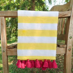 Cotton Beach Towel Handwoven in India Yellow Pink Bench